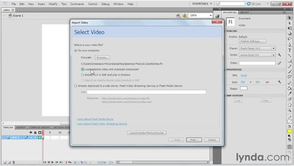 Adding video to the Flash project: Up and Running with Flash Professional