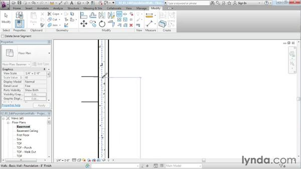 Modifying foundation walls: Designing a House in Revit Architecture