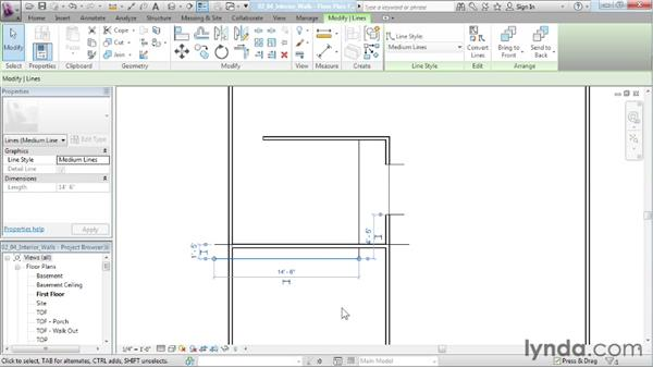 Creating the interior walls for the main level: Designing a House in Revit Architecture