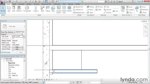 Creating the interior walls for the basement level: Designing a House in Revit Architecture