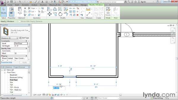 Adding windows to the project: Designing a House in Revit Architecture