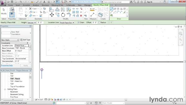 Designing a front porch and building the porch structure: Designing a House in Revit Architecture