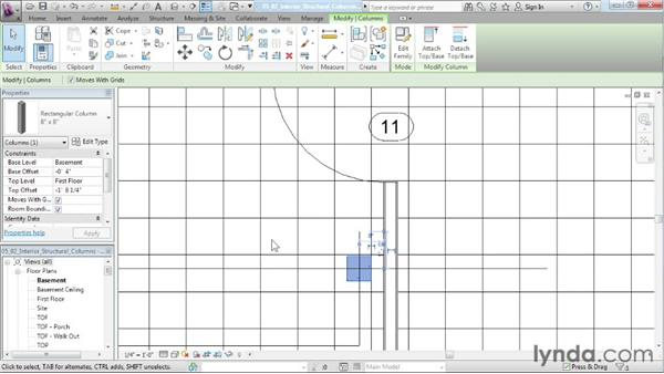 Placing interior structural columns and footings: Designing a House in Revit Architecture