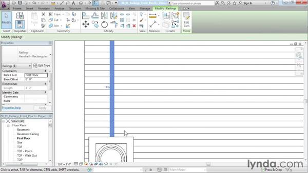 Placing the railings for the front porch: Designing a House in Revit Architecture