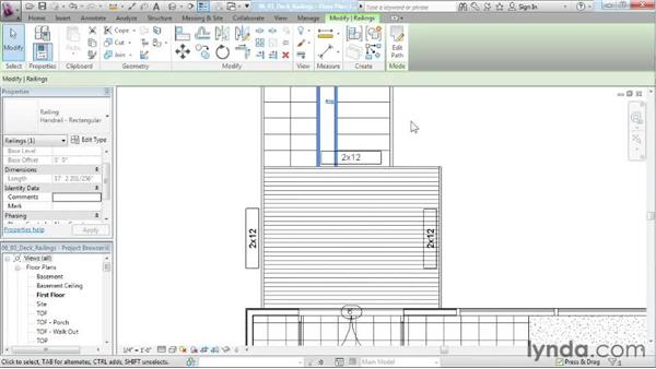 Creating deck railings: Designing a House in Revit Architecture