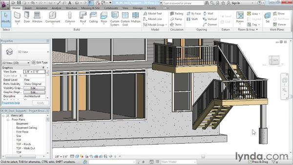 Creating deck supports: Designing a House in Revit Architecture