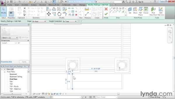 Creating porch stairs and railings: Designing a House in Revit Architecture