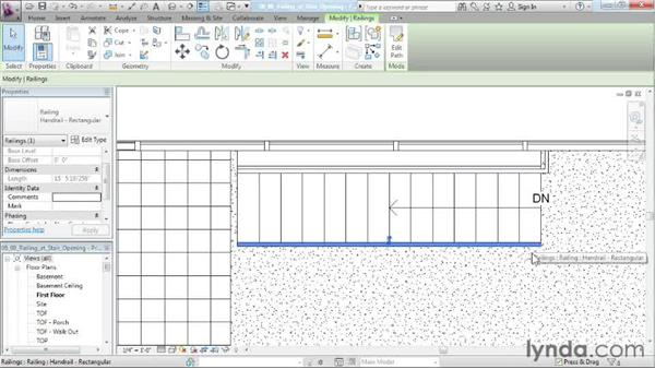 Building a railing at the top of the stairs: Designing a House in Revit Architecture
