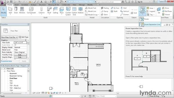 Adding rooms and room tags: Designing a House in Revit Architecture
