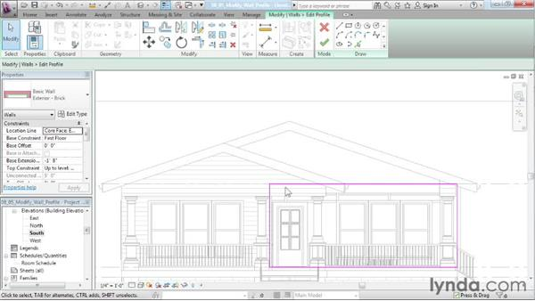Modifying a wall profile: Designing a House in Revit Architecture