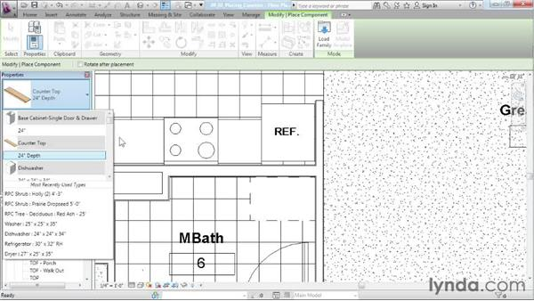 Placing countertops: Designing a House in Revit Architecture