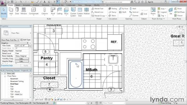 Placing plumbing fixtures: Designing a House in Revit Architecture