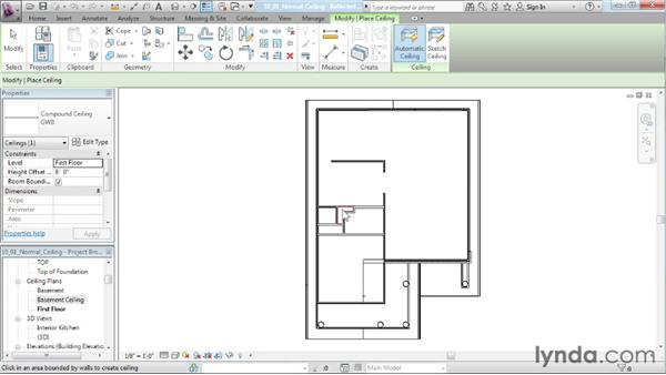 Placing a normal ceiling: Designing a House in Revit Architecture