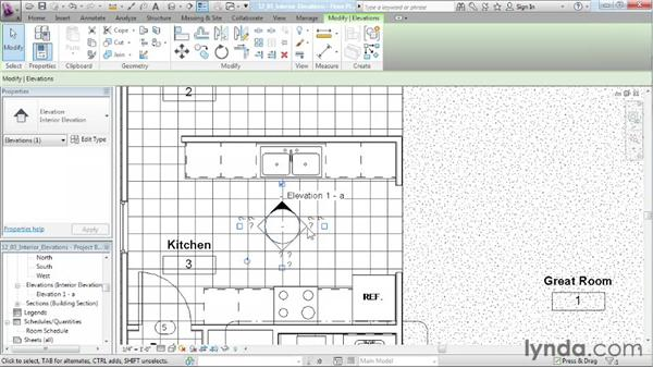 Creating interior elevation views: Designing a House in Revit Architecture