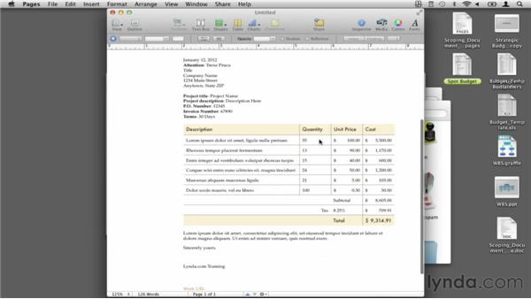 Creating an invoice with Apple Pages: Budgeting Video Projects (2012)