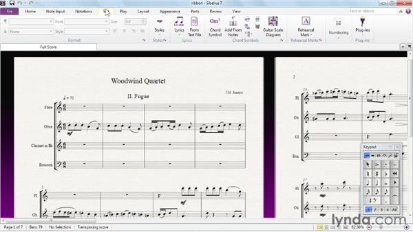 Overview of the ribbon: Sibelius 7 Essential Training
