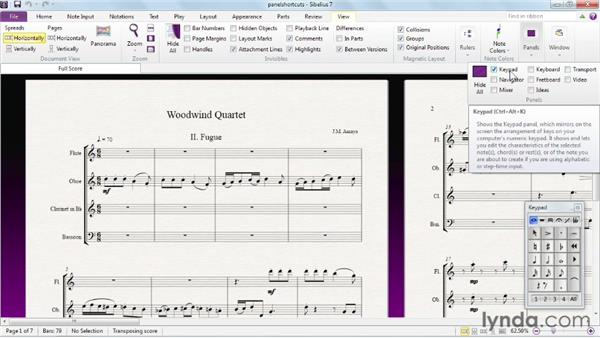 Showing and hiding panels: Sibelius 7 Essential Training
