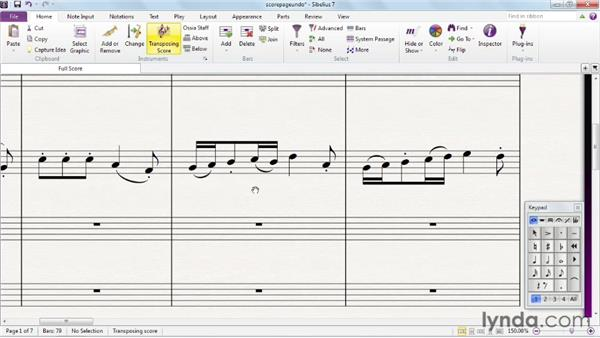 Working with the score page and undoing actions: Sibelius 7 Essential Training
