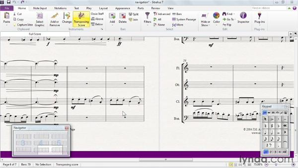 Navigating through notes, bars, and pages: Sibelius 7 Essential Training