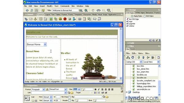 custom classes: Intermediate Dreamweaver MX
