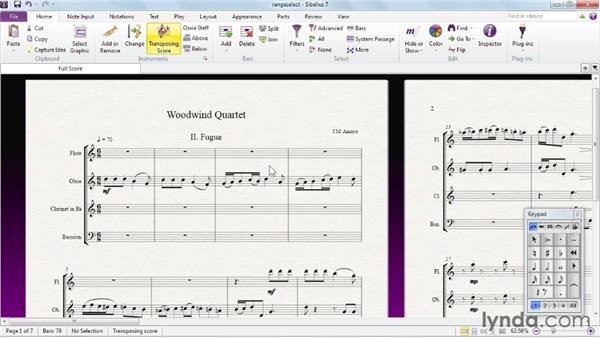 Making contiguous selections of objects: Sibelius 7 Essential Training
