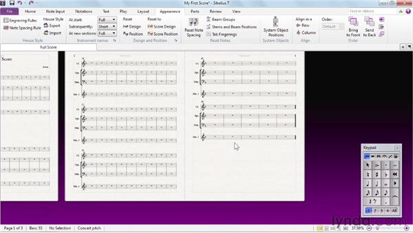 Exploring score layout: Sibelius 7 Essential Training