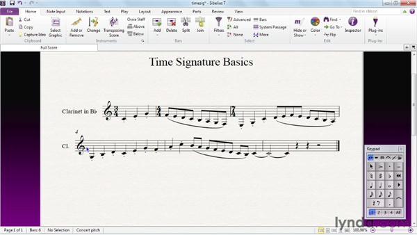 Adding time signatures: Sibelius 7 Essential Training