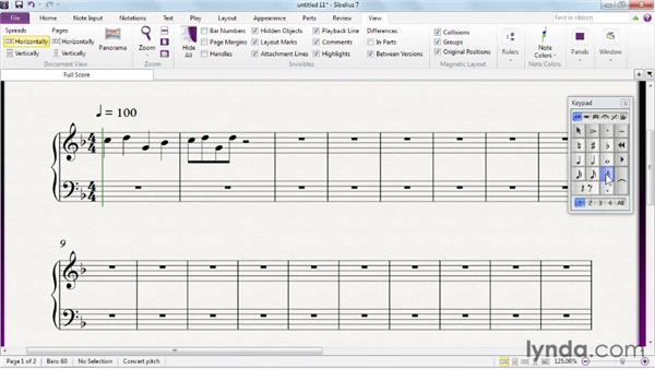 Entering notes and rests using the mouse: Sibelius 7 Essential Training
