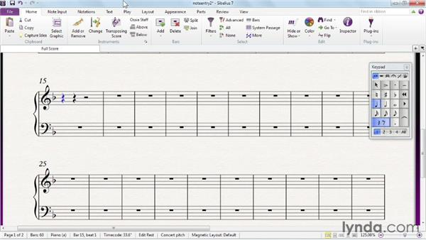 Using the computer keyboard for alphabetic note entry: Sibelius 7 Essential Training