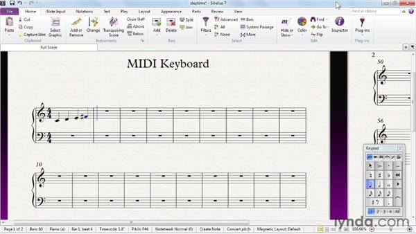 Step-time note entry with the MIDI keyboard and the Keyboard panel: Sibelius 7 Essential Training