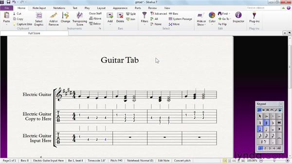 Working with tablature staves and the Fretboard window: Sibelius 7 Essential Training