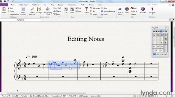 Editing notes: Sibelius 7 Essential Training