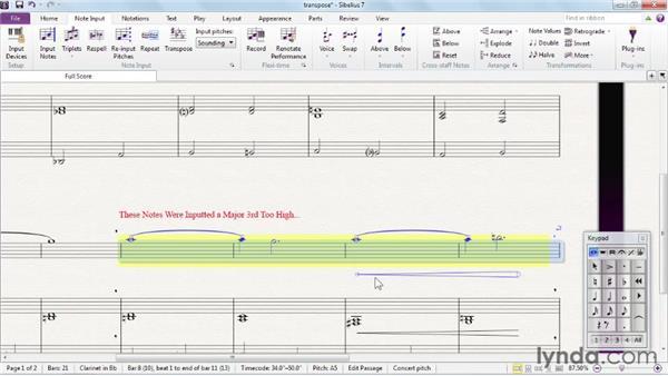 Transposing notes: Sibelius 7 Essential Training
