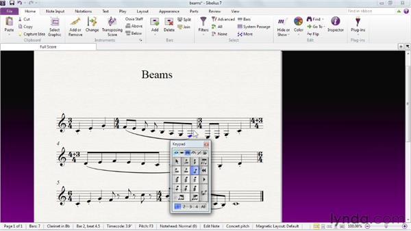 Editing beams: Sibelius 7 Essential Training