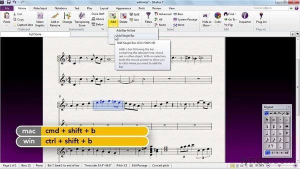 Editing with the Cut, Copy, Paste, and Repeat commands: Sibelius 7 Essential Training