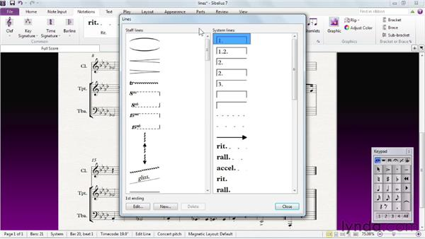 Choosing and adding lines: Sibelius 7 Essential Training
