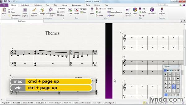 Introducing modifier key themes: Sibelius 7 Essential Training