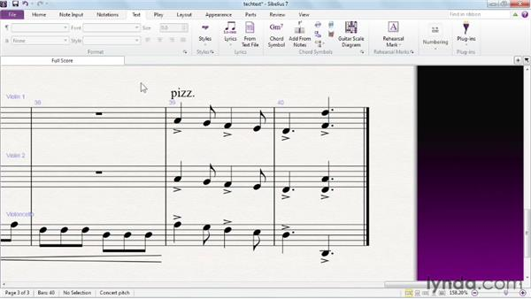Entering and editing text using Technique text: Sibelius 7 Essential Training