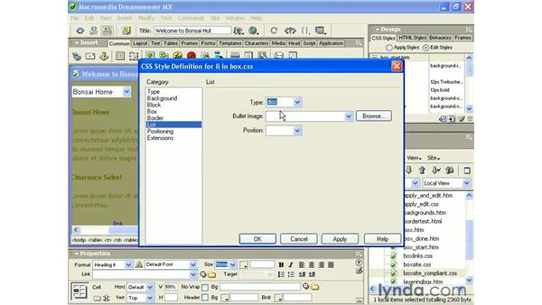 list properties: Intermediate Dreamweaver MX