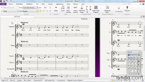 Creating tempo and metronome marks: Sibelius 7 Essential Training