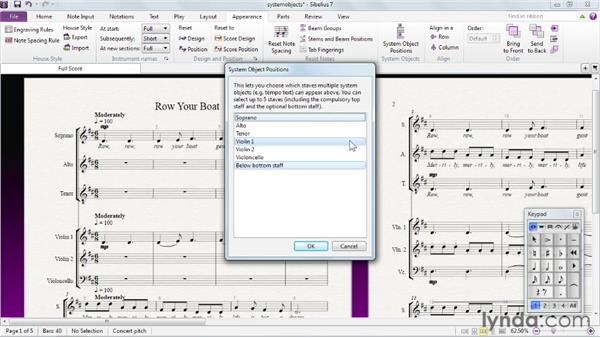 Setting system object positions: Sibelius 7 Essential Training