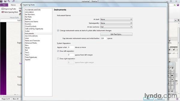 Editing instrument names: Sibelius 7 Essential Training