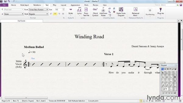 Creating chord symbols: Sibelius 7 Essential Training