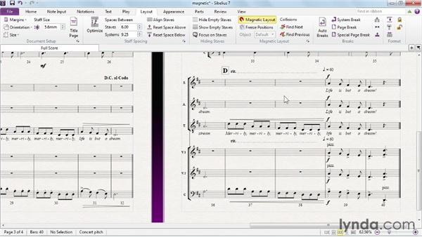 Making Magnetic Layout work for you: Sibelius 7 Essential Training