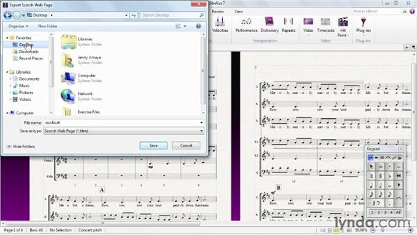 Sharing a score using Scorch: Sibelius 7 Essential Training