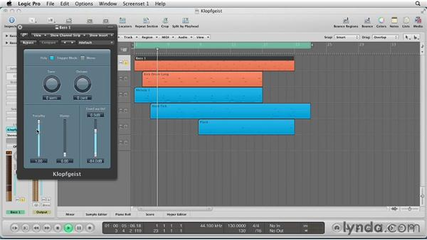 Introducing and composing with the Klopfgeist: Virtual Instruments in Logic Pro