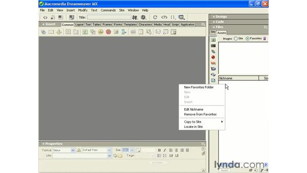 creating assets favorites: Intermediate Dreamweaver MX