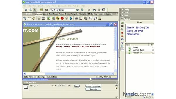 building a library item: Intermediate Dreamweaver MX