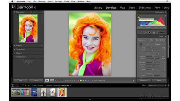Making basic adjustments in the Develop module : Lightroom 4 Essentials: 03 Creating Prints and Books