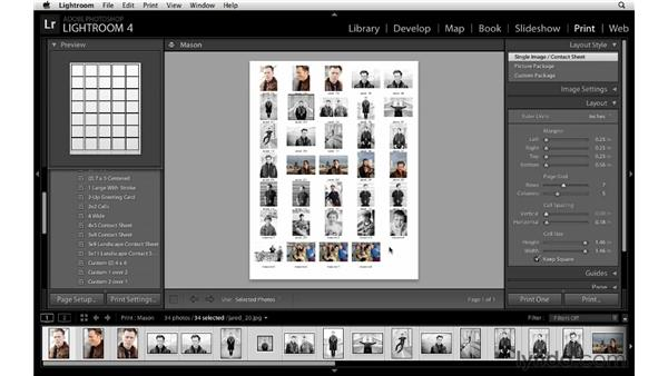 Creating a contact sheet: Lightroom 4 Essentials: 03 Creating Prints and Books